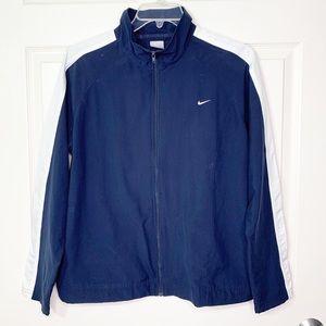 Men's Nike Full Zip Lightweight Jacket Navy Blue White Size XL